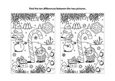 Find the differences visual puzzle and coloring page with magical candy cane. Winter holidays, New Year or Christmas themed find the ten differences picture vector illustration