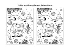 Find the differences visual puzzle and coloring page with holiday owls. Winter holidays, New Year or Christmas themed find the ten differences picture puzzle and Stock Images
