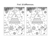 Free Winter Holidays, New Year Or Christmas Bell Decoration Find The Differences Picture Puzzle And Coloring Page Stock Photo - 202518320