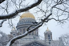 St. Isaac`s Cathedral in Saint Petersburg. Winter holidays in one of the most beautiful cities in Europe - Saint Petersburg. New Year and Christmas celebration royalty free stock image