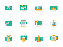 Winter holidays party flat color icons Stock Image