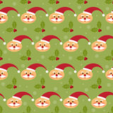 Winter holidays pattern background with funny cartoon Santa and Stock Photos