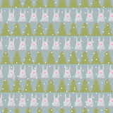 Winter holidays pattern background with green fir and funny cart Stock Photos