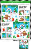 Winter holidays picture puzzles with candy cane Royalty Free Stock Photo