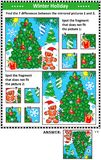 Winter holidays picture puzzles with christmas tree Stock Photography