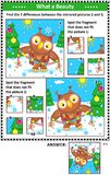 Winter holidays picture puzzles with owl and garland Stock Images