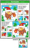 Winter holidays picture puzzles with owl and red bauble Stock Photography