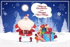 Winter Holidays Poster Santa Claus Over Gifts Stack Nature Forest Landscape Christmas And New Year Banner. Vector Illustration stock illustration