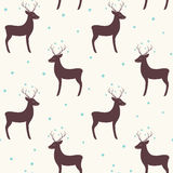 Winter holidays seamless pattern with Christmas deer Stock Image
