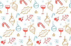 Winter holidays seamless pattern with doodle illustrations of wine glass Royalty Free Stock Image