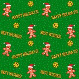 Winter holidays seamless pattern with gingermen cookies and greetings Royalty Free Stock Image
