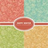 Winter holidays seamless patterns se Stock Image