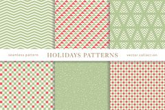 Winter holidays seamless patterns. Set of winter holiday seamless patterns. Merry Christmas and Happy New Year. Collection of simple geometric textured Vector Illustration