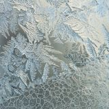 Winter Holidays Season Fantasy World Concept: Macro Image Of A Frosty Window Glass Natural Ice Patterns With Copy Space.  royalty free stock photos