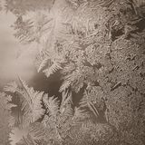 Winter Holidays Season Fantasy World Concept: Vintage Macro Image Of A Frosty Window Glass Natural Ice Patterns With Copy Space.  stock photo