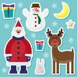 Winter holidays set with cute Santa Claus Royalty Free Stock Images