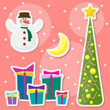 Winter holidays set with funny cartoon snowman, drawing snowflak Royalty Free Stock Photography