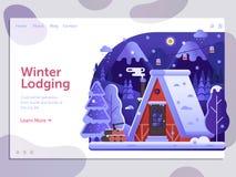 Winter Holidays on Ski Lodge Cabin Banner vector illustration