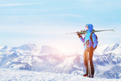 Winter holidays, skiing off piste in the mountains Royalty Free Stock Photos