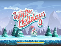 Winter holidays snowman boot screen window for the computer game.  Royalty Free Stock Photo