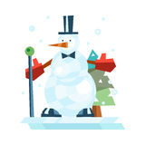 Winter holidays snowman cheerful character in cold season costume and snow xmas celebration greeting december joy ice Royalty Free Stock Photography