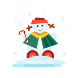 Winter holidays snowman cheerful character in cold season costume and snow xmas celebration greeting december joy ice Stock Photo