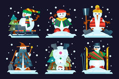Winter holidays snowman cheerful character in cold season costume and snow xmas celebration greeting december joy ice Stock Image