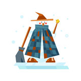 Winter holidays snowman cheerful character in cold season costume and snow xmas celebration greeting december joy ice Stock Photos