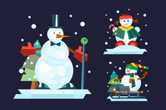 Winter holidays snowman cheerful character in cold season costume and snow xmas celebration greeting december joy ice Royalty Free Stock Images