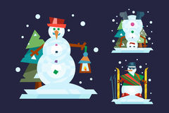 Winter holidays snowman cheerful character in cold season costume and snow xmas celebration greeting december joy ice Stock Images