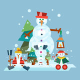 Winter holidays snowman cheerful character in cold season costume and snow xmas celebration greeting december joy ice Royalty Free Stock Image