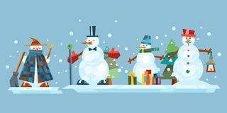 Winter holidays snowman cheerful character in cold season costume and snow xmas celebration greeting december joy ice Royalty Free Stock Photos