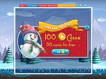 Winter holidays special offer window for the computer game Royalty Free Stock Photos