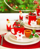 Winter holidays table setting Royalty Free Stock Image