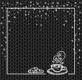 Winter holidays template frame with a cup of hot chocolate and snow. Knit pattern. Vector. Hand drawn. black Stock Photo