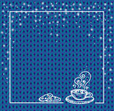 Winter holidays template frame with a cup of hot chocolate and snow. Knit pattern. Vector. Hand drawn. blue Stock Photography