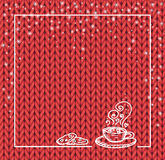 Winter holidays template frame with a cup of hot chocolate and snow. Knit pattern. Vector. Hand drawn. red Stock Image