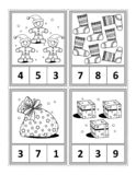 Math activity page for kids - count, circle the answer, color stock illustration