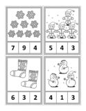 Math activity page for kids - count, circle the answer, color vector illustration