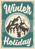 Winter holidays travel destinations, retro poster design. On old paper texture. Travel and vacation theme stock illustration