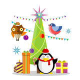 Winter Holidays Vector Concept in Flat Design. Winter holidays vector concept. Flat design. Christmas tree with toys, gift boxes, lighted candles, garlands Royalty Free Stock Photos