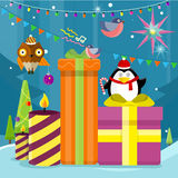 Winter Holidays Vector Concept in Flat Design. Winter holidays vector concept. Flat design. Christmas tree with toys, gift boxes, lighted candles, garlands Royalty Free Stock Images