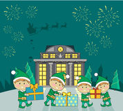 Winter Holidays Vector Concept in Flat Design. Winter holidays shopping concept vector. Flat design. Funny fairy elves packing presents in colored boxes near Royalty Free Stock Image
