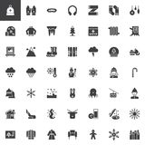 Winter holidays vector icons set. Modern solid symbol collection, filled style pictogram pack. Signs, logo illustration. Set includes icons as winter hat Stock Photos