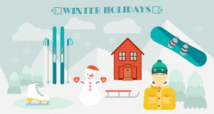 Winter holidays. Winter sport. Ski resort.  Icons in the flat design. Horizontal banner and background. Vector Royalty Free Stock Images