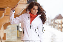 Winter holidays - woman in winter resort Royalty Free Stock Photo