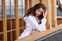 Winter holidays - woman in winter resort Royalty Free Stock Image