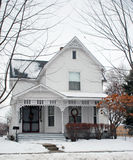 Winter Home 109. A large two story victorian american home decorated for the Christmas holiday Stock Image