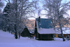 Winter home. Home in winter royalty free stock photography