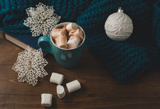 Winter home background - cup of hot cocoa Christmas ball and s Stock Image